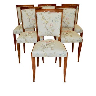1930's Vintage French Art Deco Dining Chairs, Set of Six For Sale