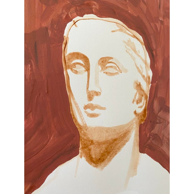 Ancient Roman Woman Sculpture Painting, Acrylic on Paper For Sale In Tampa - Image 6 of 9