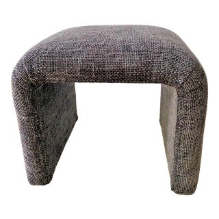 Vintage Waterfall Ottoman / Stool in Charcoal Nubby Woven Fabric For Sale
