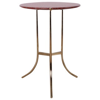 Cedric Hartman Table in Polished Brass and Rosso Granite For Sale