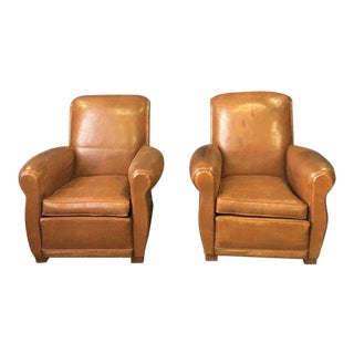 1930's Vintage French Art Deco Club Chairs- A Pair For Sale
