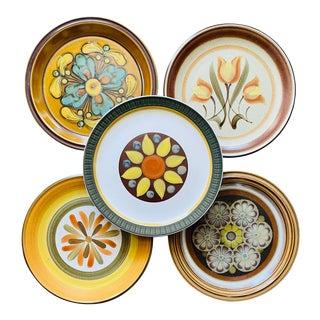 Vintage Mismatched Stoneware Dinner Plates- Set of 5 For Sale