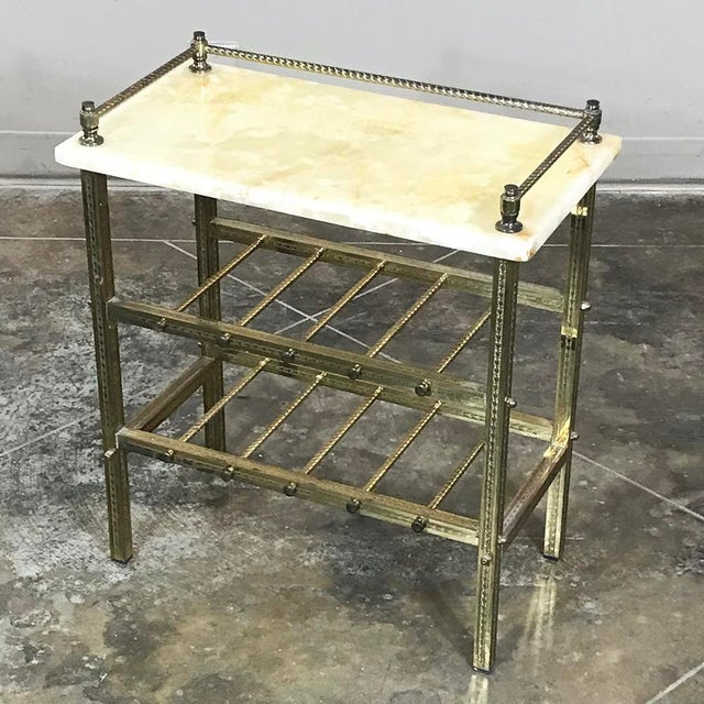 Mid-Century Brass & Marble Wine Serving Table For Sale In Dallas - Image 6 of 11