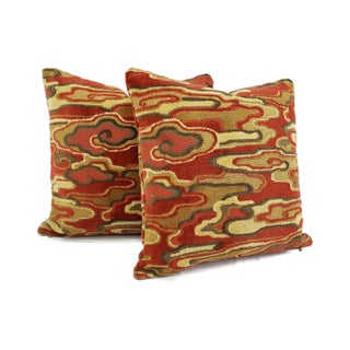 "Brunschwig & Fils Alto Velvet in Red and Camel Pillow Cover - 20"" X 20"" Red and Cream Linen Velvet Abstract Swirl Design Cushion Case Preview"