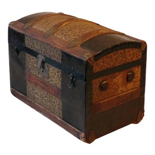 Victorian Era Wood and Metal Dome Top Steamer Trunk For Sale