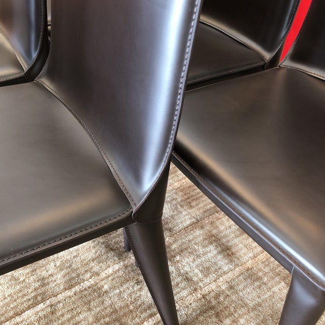 Design Within Reach Bottega Leather Dining Chairs - Set of 12 - Image 4 of 11