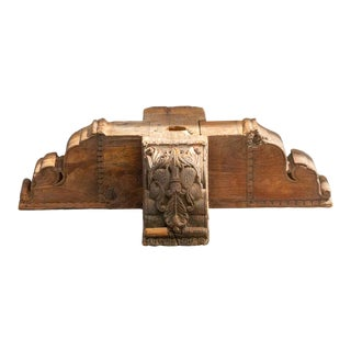 Exceptional Anglo-Indian Carved Teak Capital For Sale