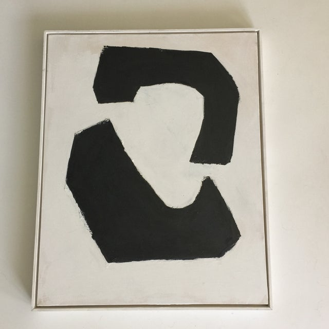 Black and White Acrylic Abstract Painting - Image 6 of 6