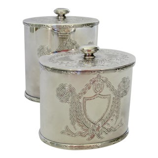 Vintage English Barker and Ellis Lidded Tea Caddy Container's - A Pair For Sale