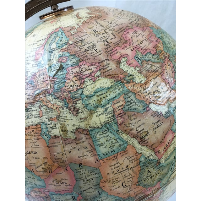 Terrestrial Globe with Orange Base For Sale - Image 5 of 6