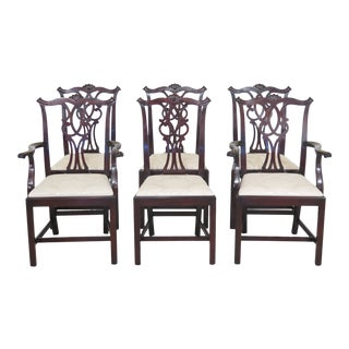 1970s Vintage Kittinger Chippendale Mahogany Dining Room Chairs- Set of 6 For Sale