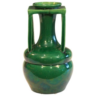 Awaji Pottery Organic Buttress Handle Arts & Crafts Green Monochrome Vase For Sale