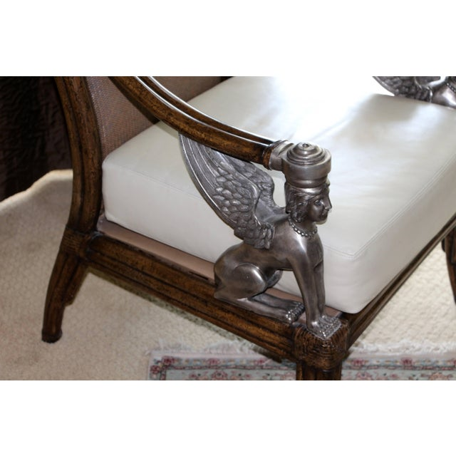 Egyptian Revival Cane and Leather Armchair With Sphinx Arms For Sale - Image 4 of 10