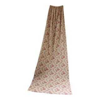 Antique French Faded Floral Aged Red Cotton Fabric Drape For Sale