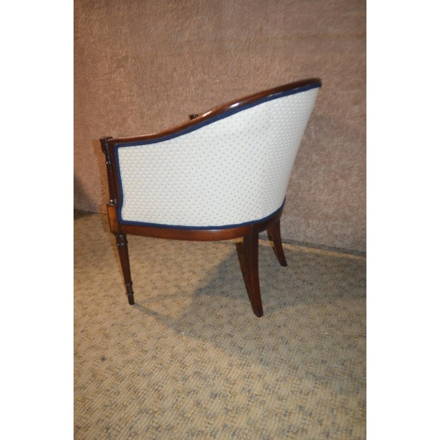 Vintage Sheraton Style Inlaid Mahogany Barrel Back Accent Chair For Sale - Image 10 of 13
