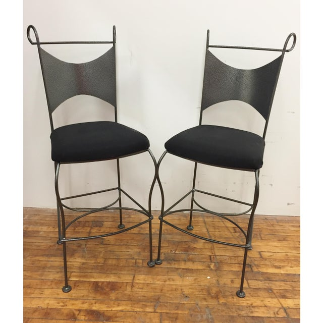 Black Vintage Mid Century Arthur Umanoff Wrought Iron Bar Stools- A Pair For Sale - Image 8 of 8