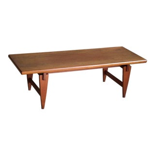 Large Illum Wikkelsø Danish Midcentury Coffee Table in Solid Teak For Sale