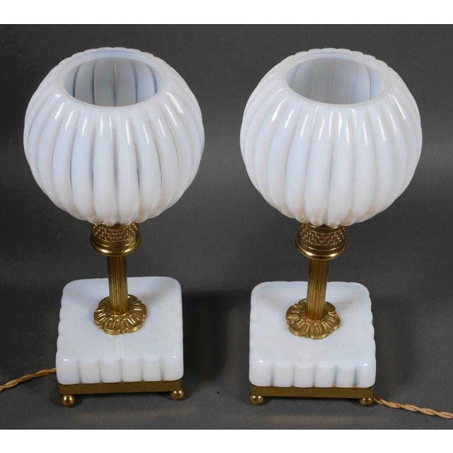 Art Deco French Opaline Table Lamps - a Pair For Sale - Image 3 of 4