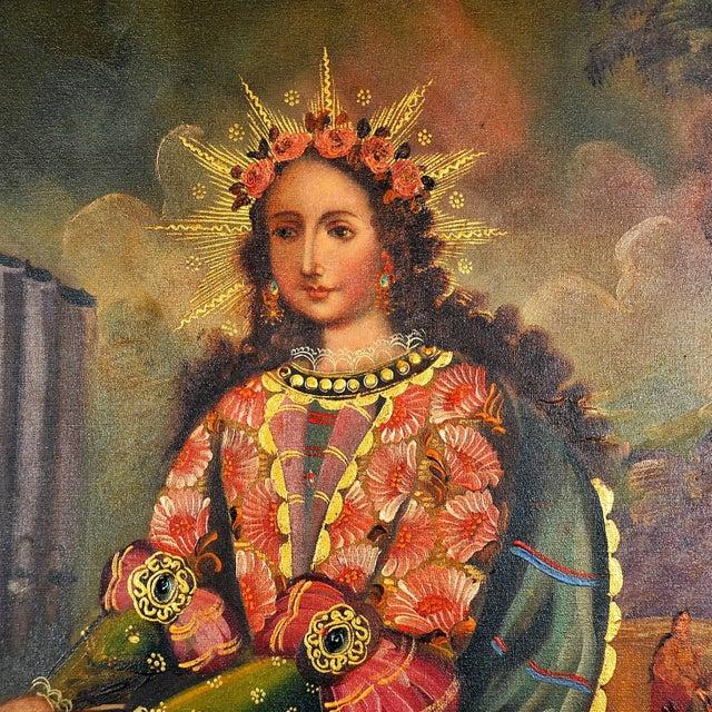"""Cuzco School"" Religious Art, Oil on Canvas of St. Cecilia, Patron Saint of Music."