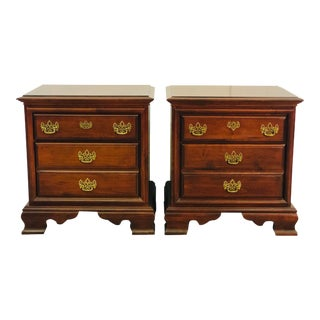 Mahogany Federal-Style Nightstands, Pair For Sale
