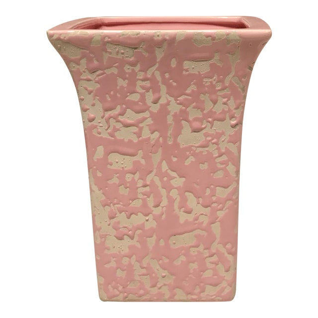 McCoy Pink & Cream Brocade Vase For Sale