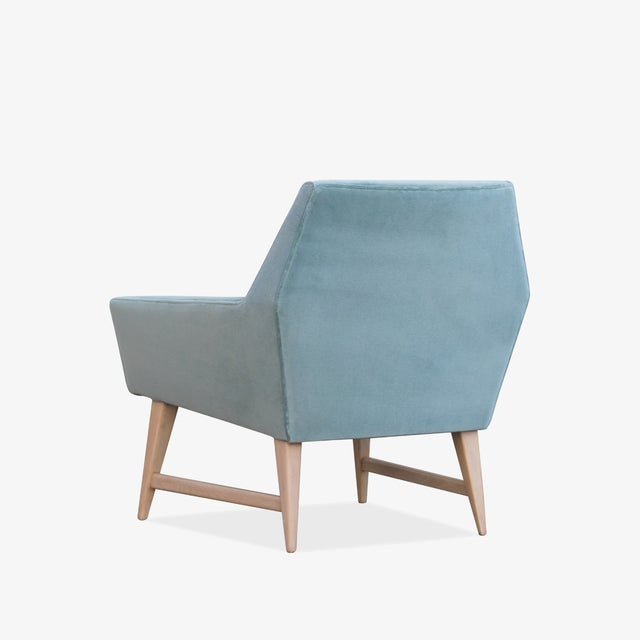 1960s Mid-Century Club Chairs in Sea Velvet, Pair For Sale - Image 5 of 10