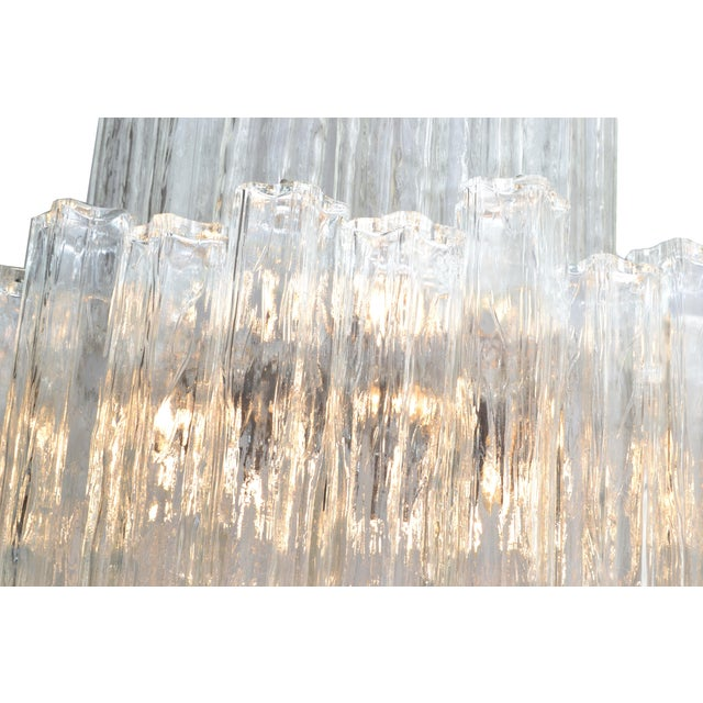 Italian Mid-Century Modern Two Tier Long Crystal Tronchi Shades Chandelier For Sale In Miami - Image 6 of 9