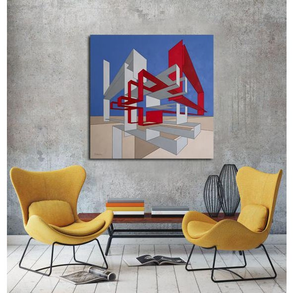 Abstract Architectural Modern Red, Blue & Tan Painting For Sale - Image 3 of 4
