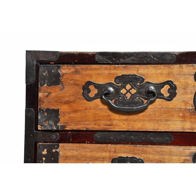 Black Japanese Two Piece Tansu Chest With Hand Forged Hardware For Sale - Image 8 of 13