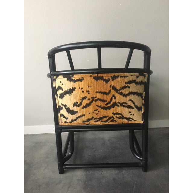 Organic Modern Black Bamboo + Animal Print Chair by Milling Road for Baker Furniture For Sale - Image 9 of 13