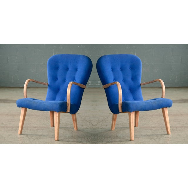 Pair of 1950s Danish Lounge Chairs in the Style of the Clam Chair by Arctander For Sale - Image 11 of 11