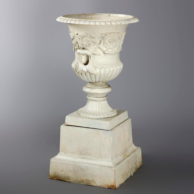 Antique French Neoclassical 2-Piece Cast Iron Garden Urn, 20th Century For Sale - Image 4 of 10