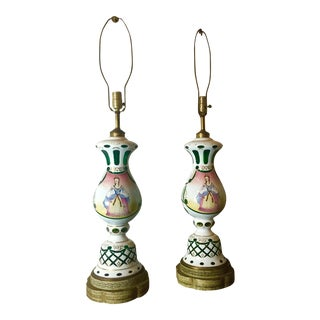 Green and White Bohemian Glass Lamps - a Pair