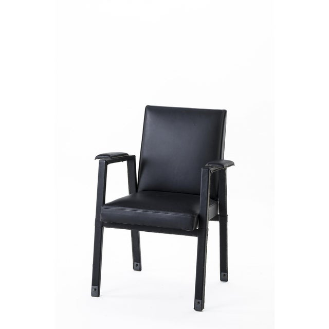 Jacques Adnet Jacques Adnet Rare Set of 4 Black Hand Stitched Leather Arm Chairs For Sale - Image 4 of 7