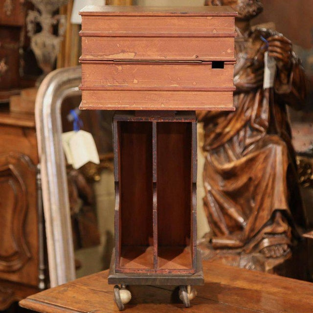 Wood Mid-20th Century French Stacked Book End Table on Wheels For Sale - Image 7 of 8