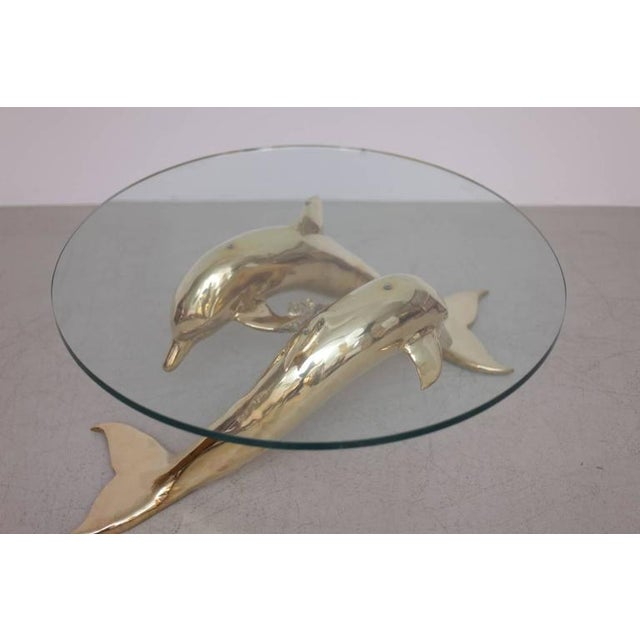 Gold Brass Coffee Table in Form of Two Dolphins For Sale - Image 8 of 10