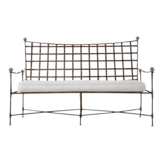 Mario Papperzini for Salterini Patinated Iron Garden Bench Settee For Sale