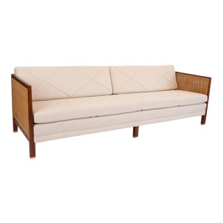 Michael Taylor for Baker Walnut Wicker and Upholstered Sofa For Sale