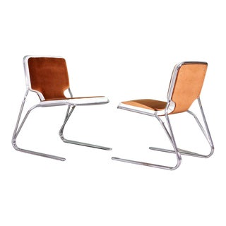 Italian Brown Velvet Upholstered Chrome Chairs - a Pair For Sale