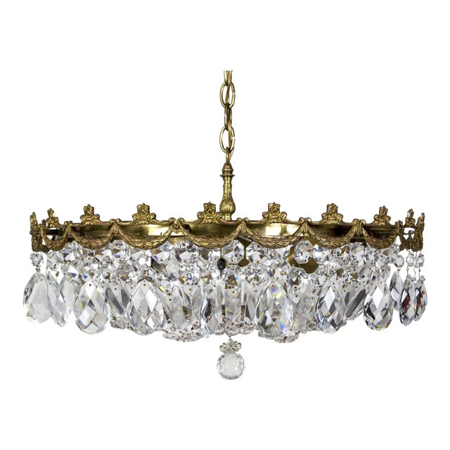 Wide Shallow Crystal Basket Chandelier With Brass Garland For Sale