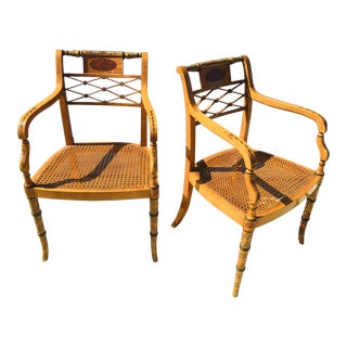 1990s Handpainted Regency Style Cane Chairs - a Pair For Sale
