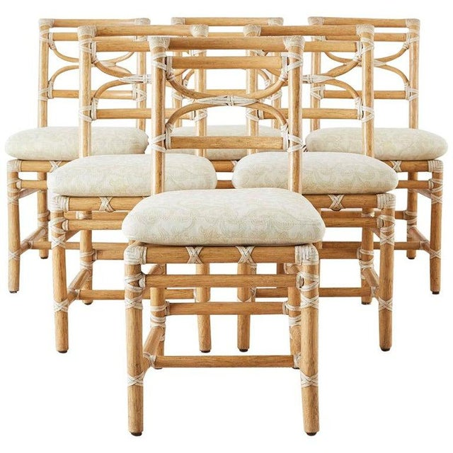 McGuire Set of Six Organic Modern Rattan Dining Chairs For Sale - Image 13 of 13