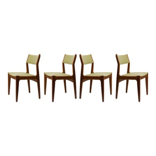 Mid-Century Vintage Danish Style Leather & Teak Chairs- Set of 4 For Sale