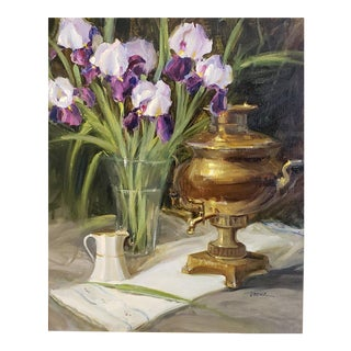 "Judy Crowe ""Samovar and Spring Irises"" Oil Painting For Sale"