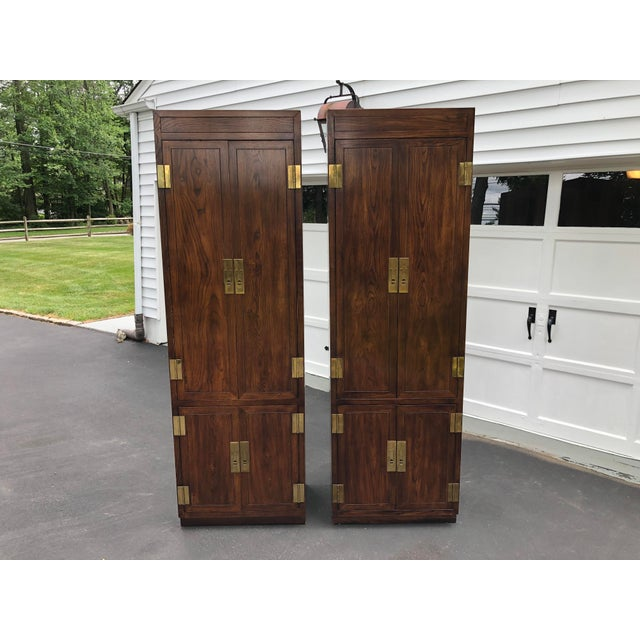 Henredon Scene One Campaign Style Armoire Cabinets 1980s - a Pair For Sale - Image 12 of 12