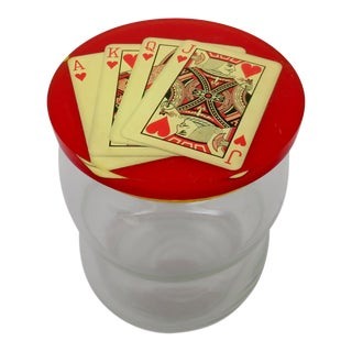Transparent Blown Glass Playing Cards Motif Lidded Jar For Sale