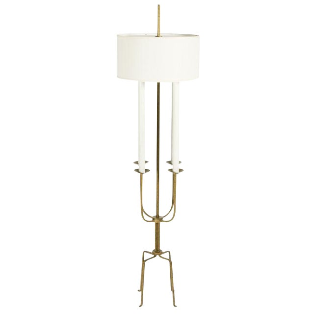 Gilt Wrought Iron Candelabra Floor Lamp by Tommi Parzinger For Sale