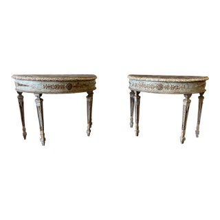 Italian Demi Lune Painted Console Tables - a Pair For Sale