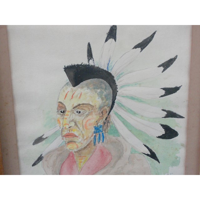 Traditional 1930s Traditional Watercolor on Paper of Blackhawk Indian by E. Rigling For Sale - Image 3 of 9