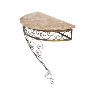 Gilt Iron Marble Top Demilune Table